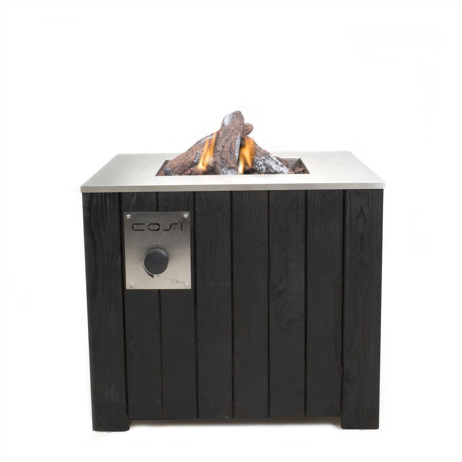 Cosi Fires vuurtafels en gaslantaarns Cosi Fires vuurtafel Cosicube 70, afm. 70 x 70 cm, hoogte 58 cm, douglas hout in black