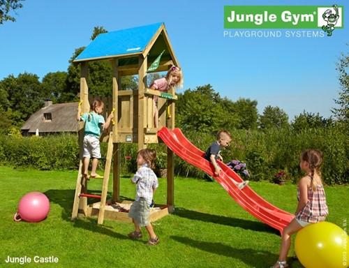 Jungle Gym speeltoren Jungle Castle, montagekit inclusief glijbaan en houtpakket op maat gezaagd