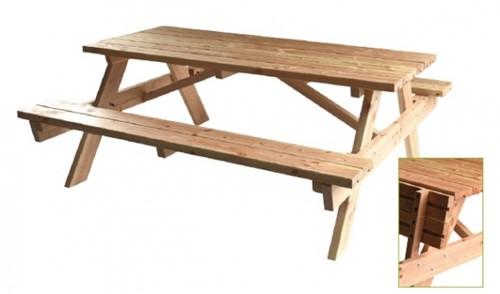 Picknicktafel, bladmaat 180 x 75 cm, douglas, houtdikte 40 mm, opklapbare zittingen