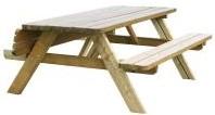 Picknicktafel, bladmaat 180 cm, geimpregneerd grenen, houtdikte 42 mm, opklapbare zittingen