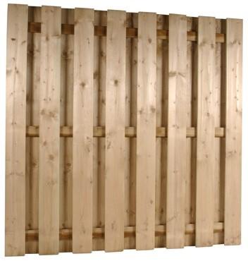 hout/betonschutting 10x10, 15-planks tuinscherm, dubbele betonplaat, grijs stampbeton, per 0,95 m-3