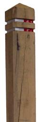 paal met diamantkop, afm.  15 x 15 cm, lengte 140 cm, eiken, ingefreesd (zonder bandjes)