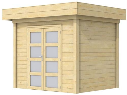 Blokhut Koekoek, afm. 303 x 203 cm, plat dak, houtdikte 28 mm.