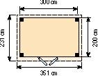 Blokhut Koekoek, afm. 303 x 203 cm, plat dak, houtdikte 28 mm.-2