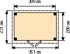 Blokhut Koekoek, afm. 300 x 200 cm, plat dak, houtdikte 28 mm.-2