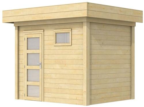 Blokhut Korhoen, afm. 300 x 200 cm, plat dak, houtdikte 28 mm.