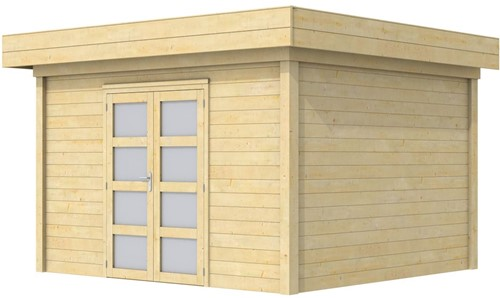 Blokhut Parelhoen, afm. 395 x 303 cm, plat dak, houtdikte 28 mm.