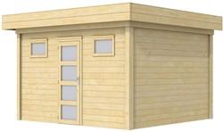 Blokhut Kievit, afm. 400 x 300 cm, plat dak, houtdikte 28 mm.