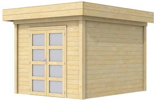 Blokhut Bosuil, afm. 303 x 303 cm, plat dak, houtdikte 28 mm.
