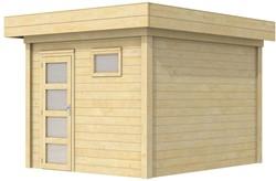 Blokhut Tapuit, afm. 300 x 300 cm, plat dak, houtdikte 28 mm.