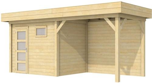 Blokhut Korhoen met luifel van 300 cm, afm. 596 x 203 cm, plat dak, houtdikte 28 mm.