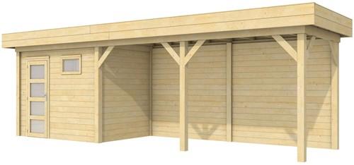Blokhut Korhoen met luifel van 500 cm, afm. 787 x 203 cm, plat dak, houtdikte 28 mm.