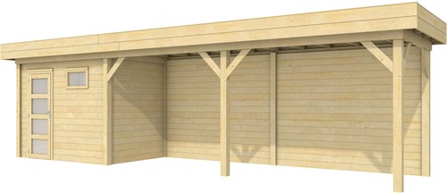 Blokhut Korhoen met luifel van 600 cm, afm. 887 x 203 cm, plat dak, houtdikte 28 mm.