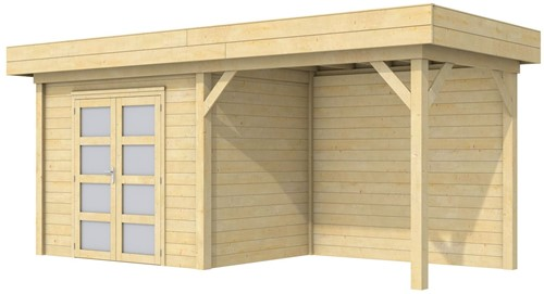 Blokhut Koekoek met luifel 300, afm. 600 x 200 cm, plat dak, houtdikte 28 mm.
