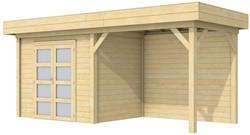 Blokhut Koekoek met luifel 400, afm. 700 x 200 cm, plat dak, houtdikte 28 mm.
