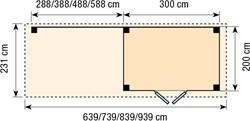 Blokhut Koekoek met luifel 300, afm. 600 x 200 cm, plat dak, houtdikte 28 mm, blank vuren