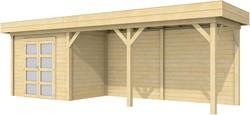 Blokhut Koekoek met luifel 500, afm. 800 x 200 cm, plat dak, houtdikte 28 mm.
