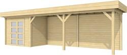 Blokhut Koekoek met luifel 600, afm. 900 x 200 cm, plat dak, houtdikte 28 mm.