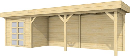 Blokhut Koekoek met luifel 600, afm. 887 x 203 cm, plat dak, houtdikte 28 mm.