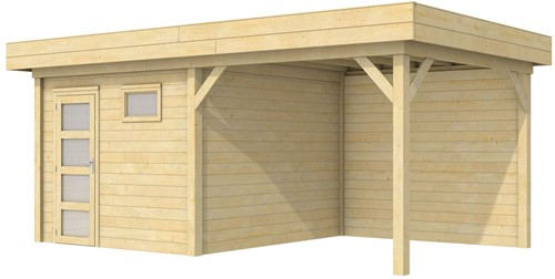 Blokhut Tapuit met luifel 400, afm. 689 x 303 cm, plat dak, houtdikte 28 mm.