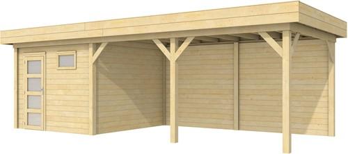 blokhut Tapuit met luifel 500, afm. 787 x 303 cm, plat dak, houtdikte 28 mm.