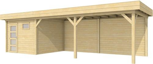 Blokhut Tapuit met luifel 600, afm. 887 x 303 cm, plat dak, houtdikte 28 mm.