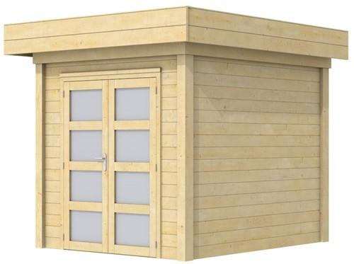 Blokhut Kolibri, afm. 253 x 253 cm, plat dak, houtdikte 28 mm.