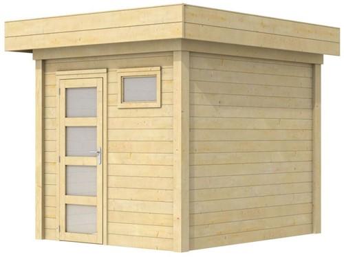 Blokhut Kuifmees, afm. 250 x 250 cm, plat dak, houtdikte 28 mm