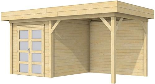 Blokhut Kolibri met luifel 300, afm. 550 x 250 cm, plat dak, houtdikte 28 mm.