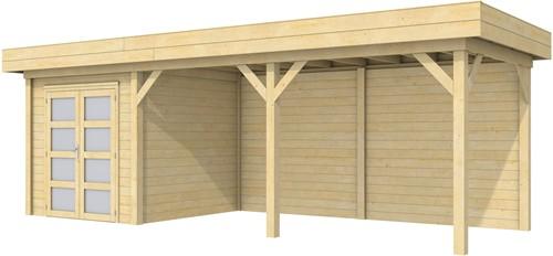 Blokhut Kolibri met luifel 500, afm. 734 x 253 cm, plat dak, houtdikte 28 mm.
