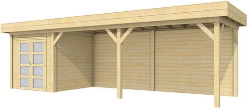 Blokhut Kolibri met luifel 600, afm. 834 x 253 cm, plat dak, houtdikte 28 mm.