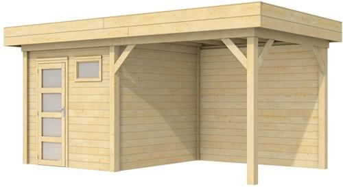 Blokhut Kuifmees met luifel 400, afm. 636 x 253 cm, plat dak, houtdikte 28 mm.