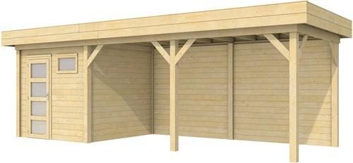 Blokhut Kuifmees met luifel 500, afm. 734 x 253 cm, plat dak, houtdikte 28 mm.