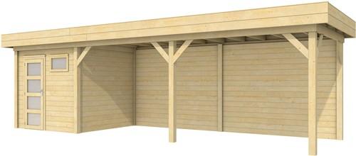 Blokhut Kuifmees met luifel 600, afm. 850 x 250 cm, plat dak, houtdikte 28 mm.