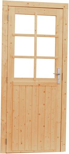 Deur 6-ruits, enkel, buitenmaat 90 x 201 cm, vurenhout