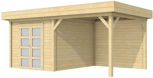 Blokhut Bosuil met luifel 400, afm. 689 x 303 cm, plat dak, houtdikte 28 mm.
