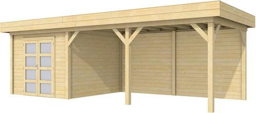Blokhut Bosuil met luifel 500, afm. 787 x 303 cm, plat dak, houtdikte 28 mm.