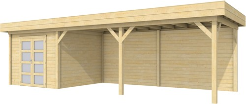 blokhut Bosuil met luifel 600, afm. 900 x 250 cm, plat dak, houtdikte 28 mm.