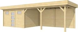 Blokhut Kievit met luifel 500, afm. 900 x 300 cm, plat dak, houtdikte 28 mm.