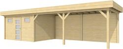 Blokhut Kievit met luifel 600, afm. 1000 x 300 cm, plat dak, houtdikte 28 mm.
