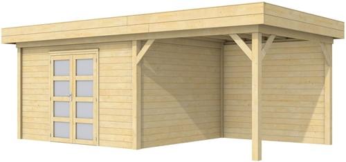 Blokhut Parelhoen met luifel 400, afm. 778 x 303 cm, plat dak, houtdikte 28 mm.
