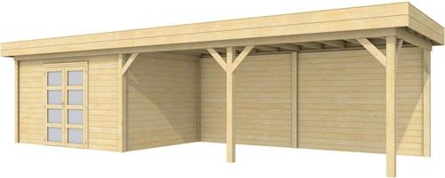 Blokhut Parelhoen met luifel 600, afm. 976 x 303 cm, plat dak, houtdikte 28 mm.