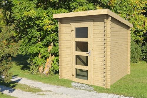 Blokhut Jelle, 175  x 175 cm, lessenaarsdak, houtdikte 28 mm, vuren