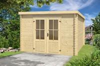 Blokhut Miami, 292 x 292 cm, met dubbele deur, lessenaarsdak, houtdikte 28 mm, vuren