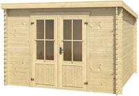 Blokhut Miami, 292 x 292 cm, met dubbele deur, lessenaarsdak, houtdikte 28 mm, vuren-2