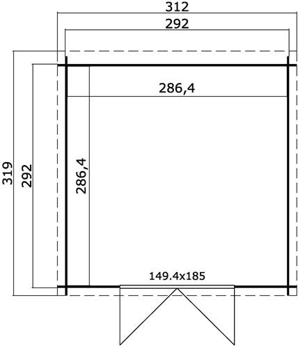 Blokhut Miami, 292 x 292 cm, met dubbele deur, lessenaarsdak, houtdikte 28 mm, vuren-3