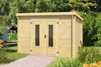 Blokhut Sacramento, 292 x 292 cm, met dubbele deur, lessenaarsdak, houtdikte 28 mm, vuren