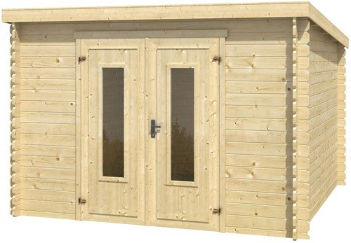 Blokhut Sacramento, 292 x 292 cm, met dubbele deur, lessenaarsdak, houtdikte 28 mm, vuren-2