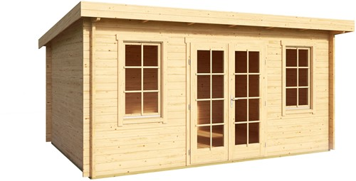 Blokhut Padstow, 455 x 330 cm, met dubbele deur, lessenaarsdak, houtdikte 44 mm, vuren-2