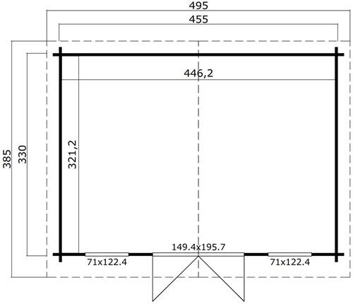 Blokhut Padstow, 455 x 330 cm, met dubbele deur, lessenaarsdak, houtdikte 44 mm, vuren-3